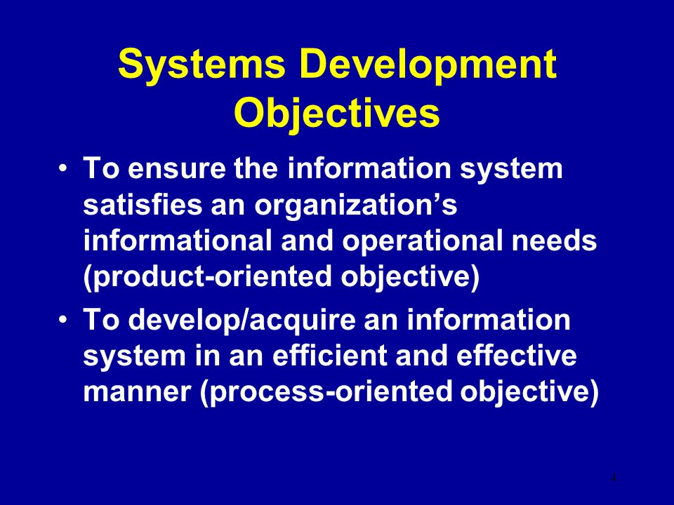 Systems Development Objectives