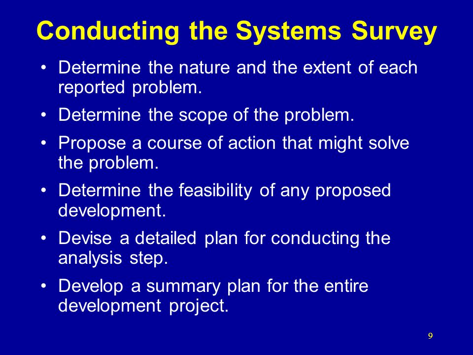Conducting the Systems Survey