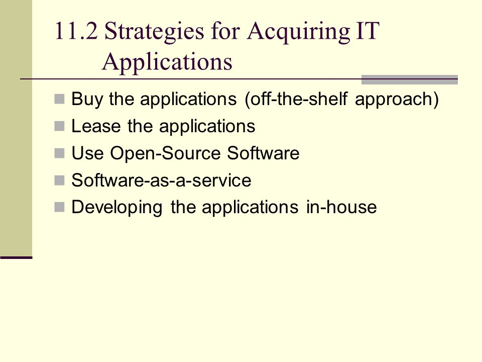 11.2 Strategies for Acquiring IT Applications