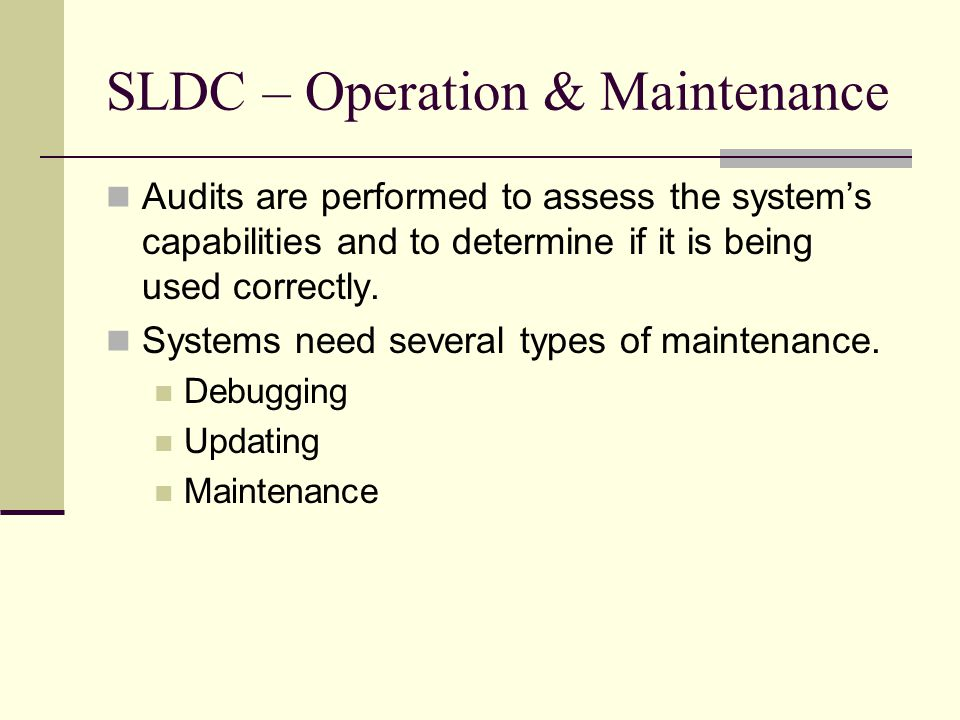 SLDC – Operation & Maintenance