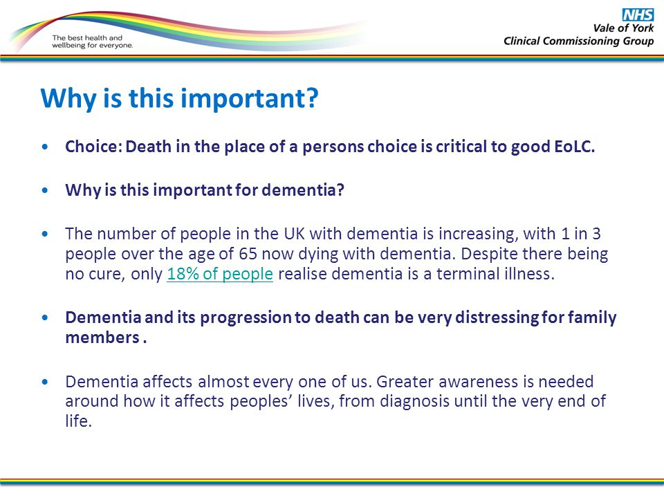 Why is this important Choice: Death in the place of a persons choice is critical to good EoLC. Why is this important for dementia