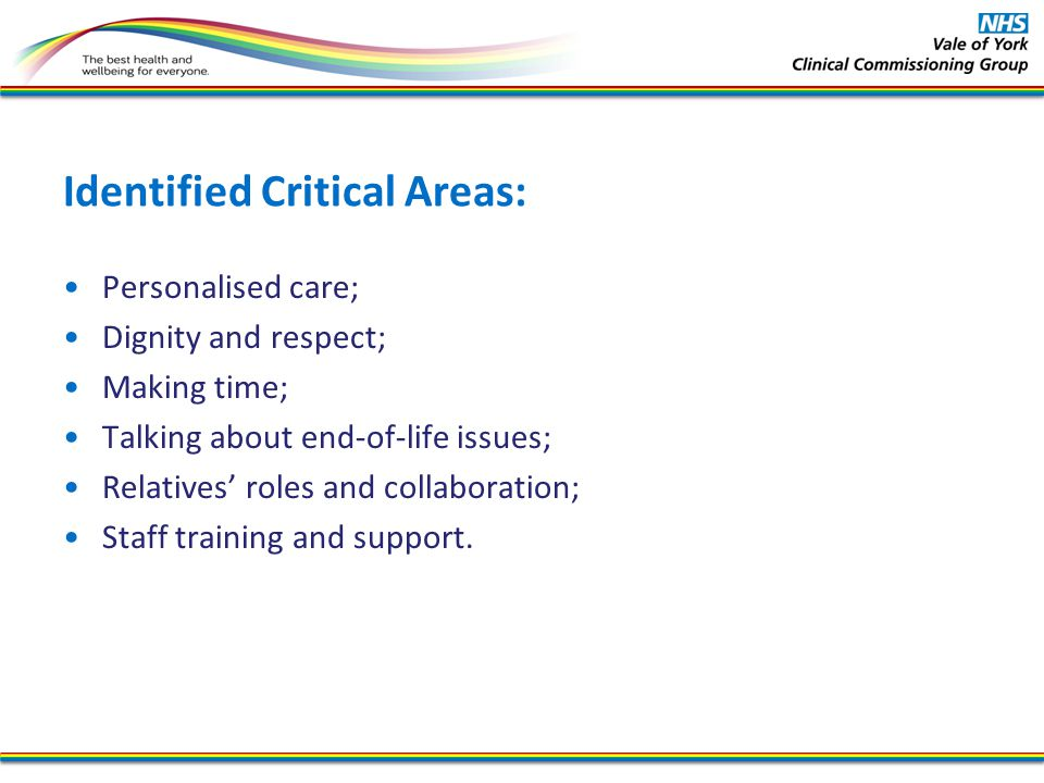 Identified Critical Areas: