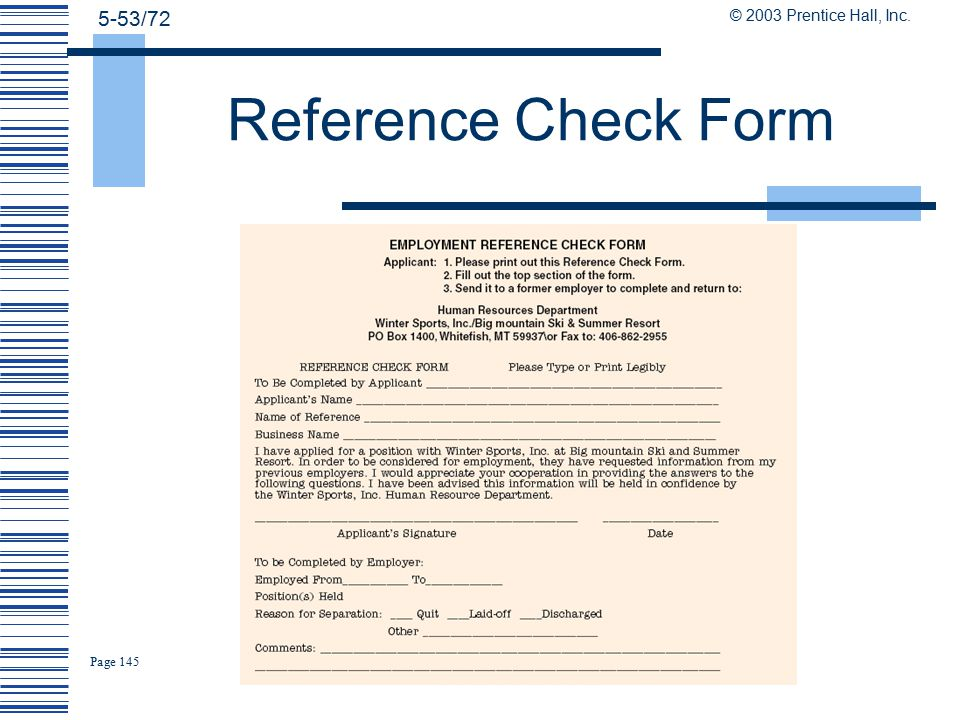 employment reference check forms