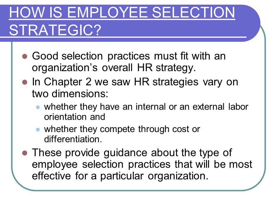 selecting employees to fit the job Learn how to prepare a job description and choose selection criteria in order to improve the hiring process and hire the right person.