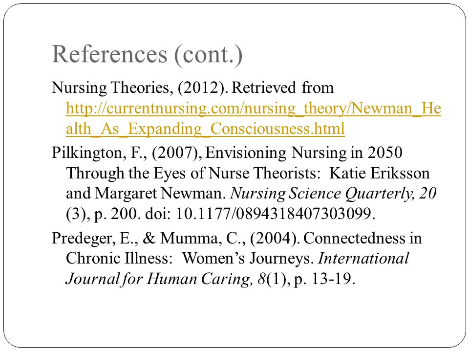 NU 601: Nursing Theory: Find Articles on Nursing Theory