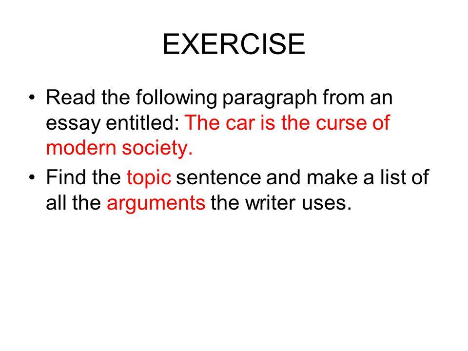 exercises on essay writing