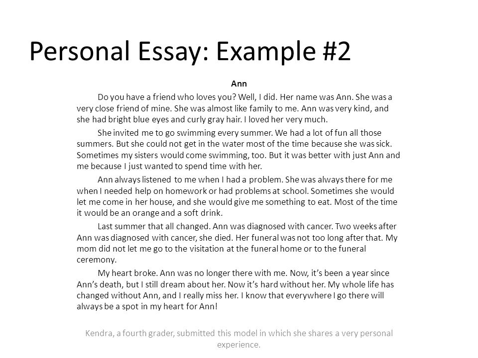 model personal narrative essay A narrative essay or speech is used to tell a story, often one that is based on personal experience this genre of work comprises works of nonfiction that hew closely to the facts and follow a logical chronological progression of events.