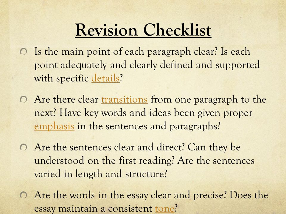 Essays to revise with precise words
