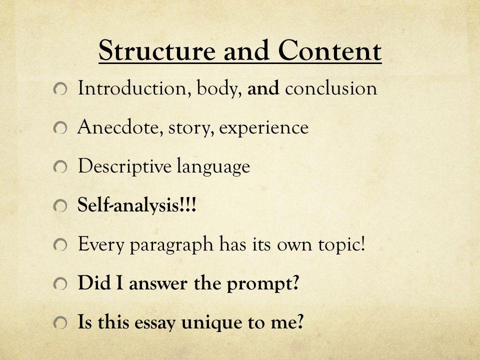 descriptive essay introduction body conclusion A descriptive essay is the first step to the use descriptive words to discuss the situation it should contain an introduction, body, and conclusion.