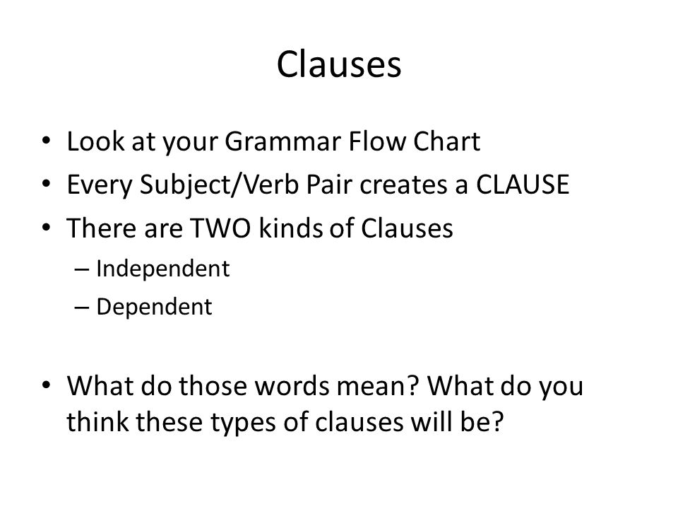 Clauses Look at your Grammar Flow Chart