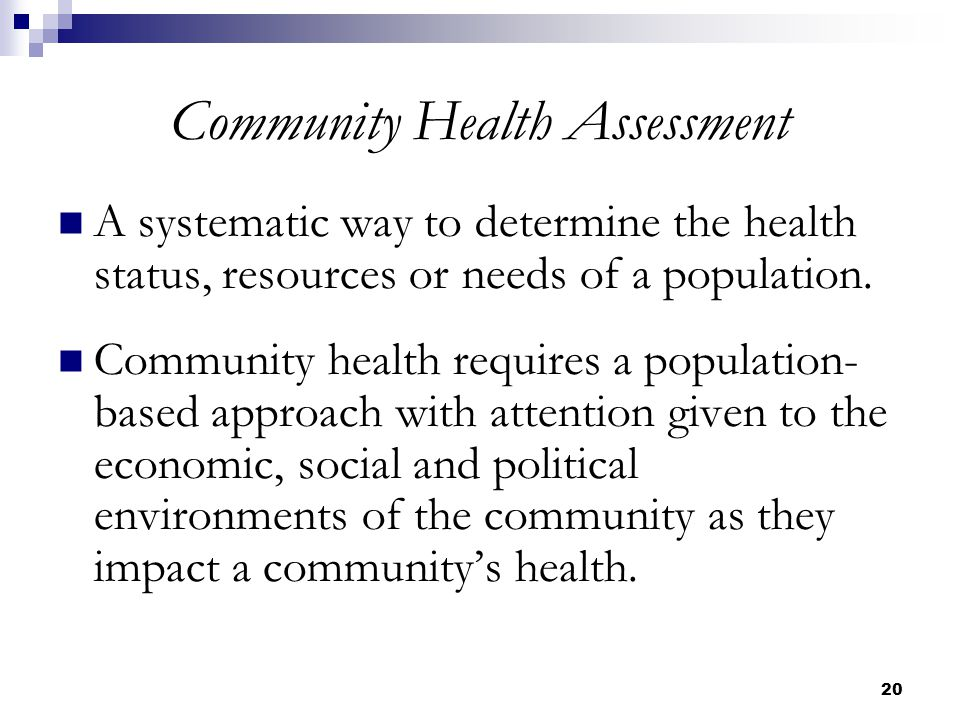 community health assessment Conduct a community health needs assessment at least once every three years  and include public health and community input develop an implementation.