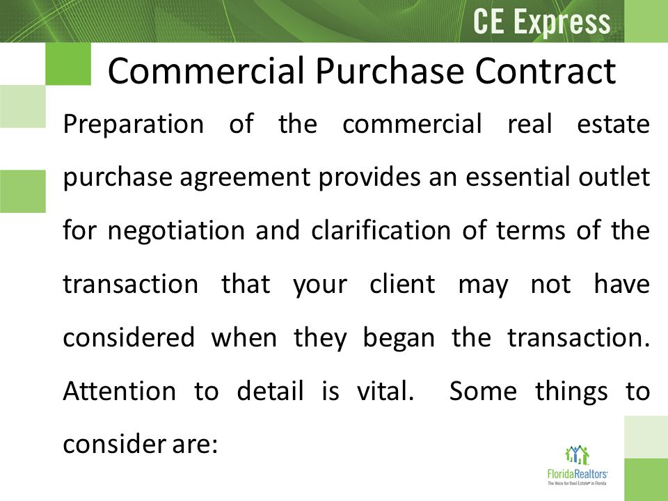 Commercial Core Law 3 Hours CE ppt video online download – Commercial Purchase Agreement