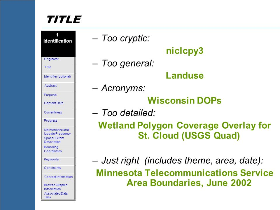 TITLE Too cryptic: niclcpy3 Too general: Landuse Acronyms: