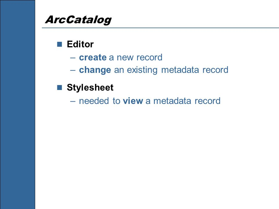 ArcCatalog Editor create a new record