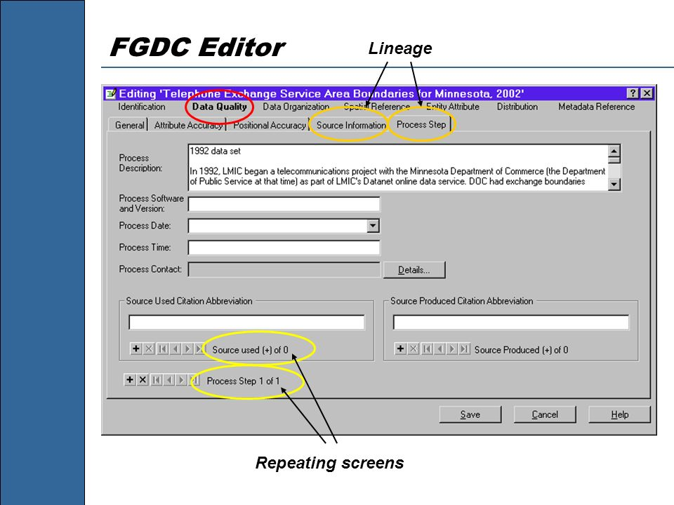 FGDC Editor Lineage Repeating screens