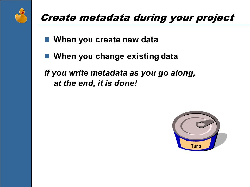 Create metadata during your project