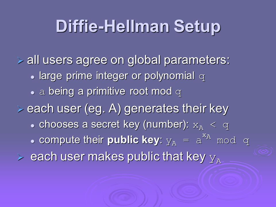 Diffie-Hellman Setup all users agree on global parameters: