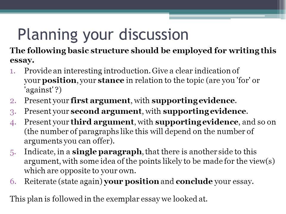 Discuss essay structure