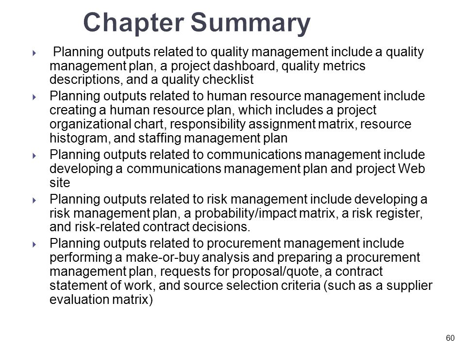 chapter planning projects part ii quality human resource  chapter summary