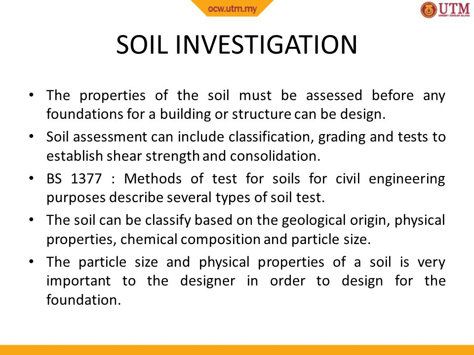 Site works site investigation and soil investigation ppt for Describe soil