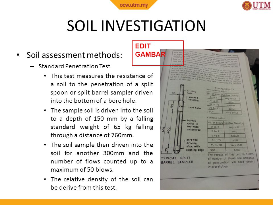 Sample penetration test during geotechnical survey