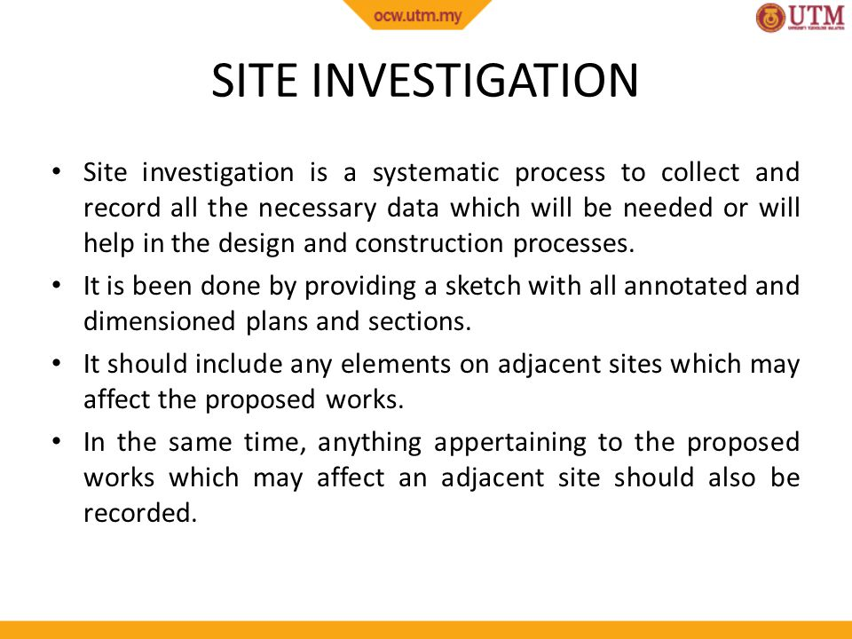 site investigation in construction This specification includes associated schedules and a bill of quantities, and is intended for general application to ground investigation work.