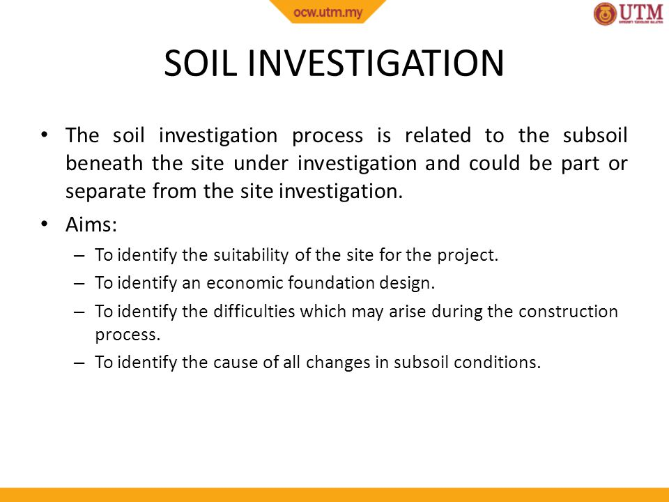 Site works site investigation and soil investigation ppt for Soil investigation report