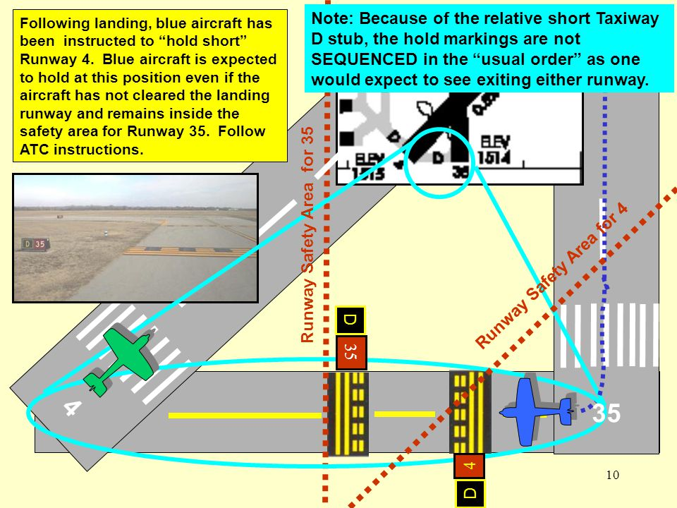 Note: Because of the relative short Taxiway D stub, the hold markings are not SEQUENCED in the usual order as one would expect to see exiting either runway.