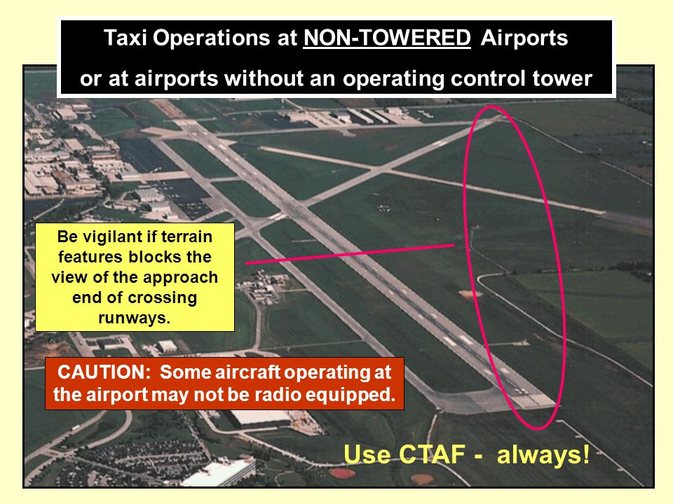 Use CTAF - always! Taxi Operations at NON-TOWERED Airports