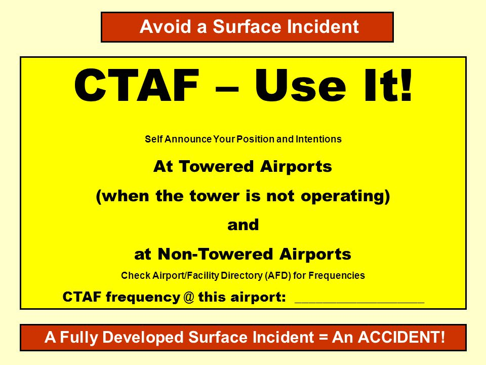 CTAF – Use It! Avoid a Surface Incident At Towered Airports