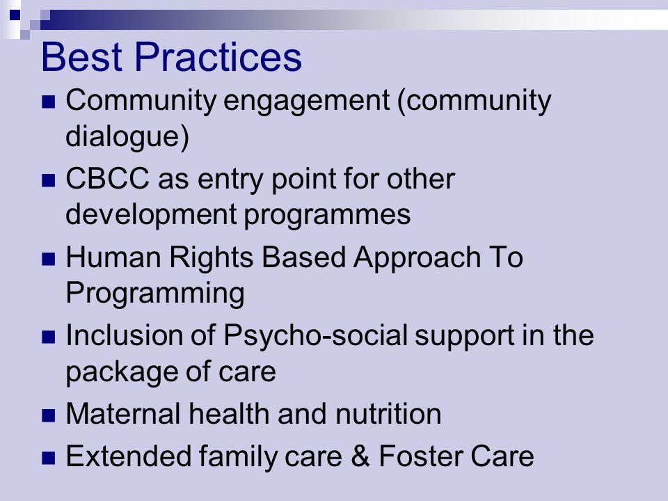 Best Practices Community engagement (community dialogue)