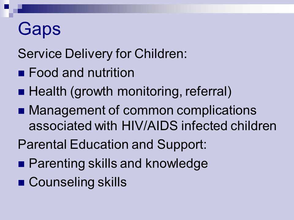 Gaps Service Delivery for Children: Food and nutrition