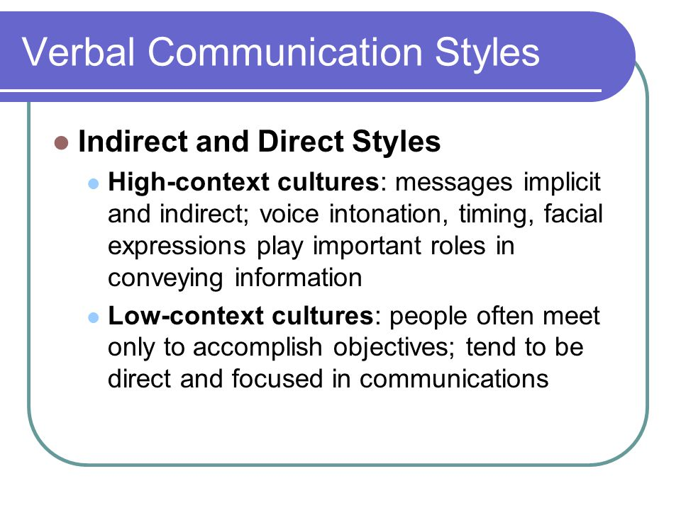 high and low context communication styles You've learned the difference between low context and high context cultures and how that can influence the style of communication you've also been given some tips on how to.