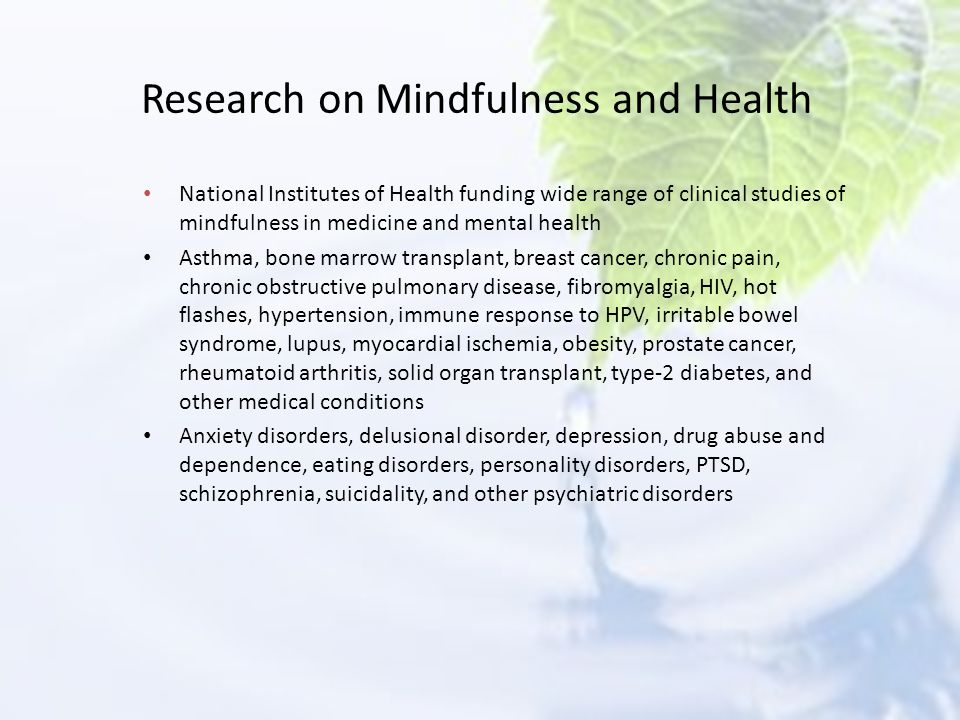 Research on Mindfulness and Health