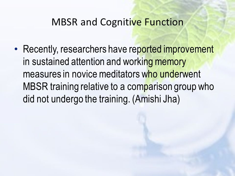 MBSR and Cognitive Function