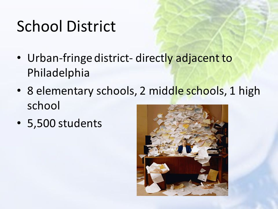School District Urban-fringe district- directly adjacent to Philadelphia. 8 elementary schools, 2 middle schools, 1 high school.