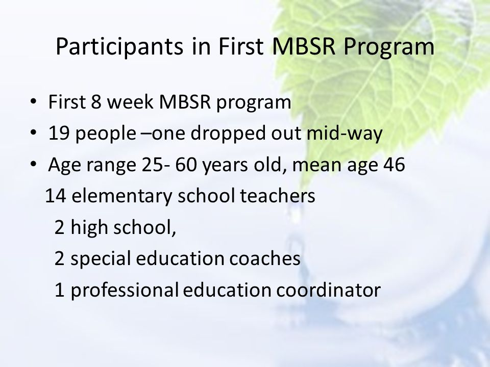 Participants in First MBSR Program