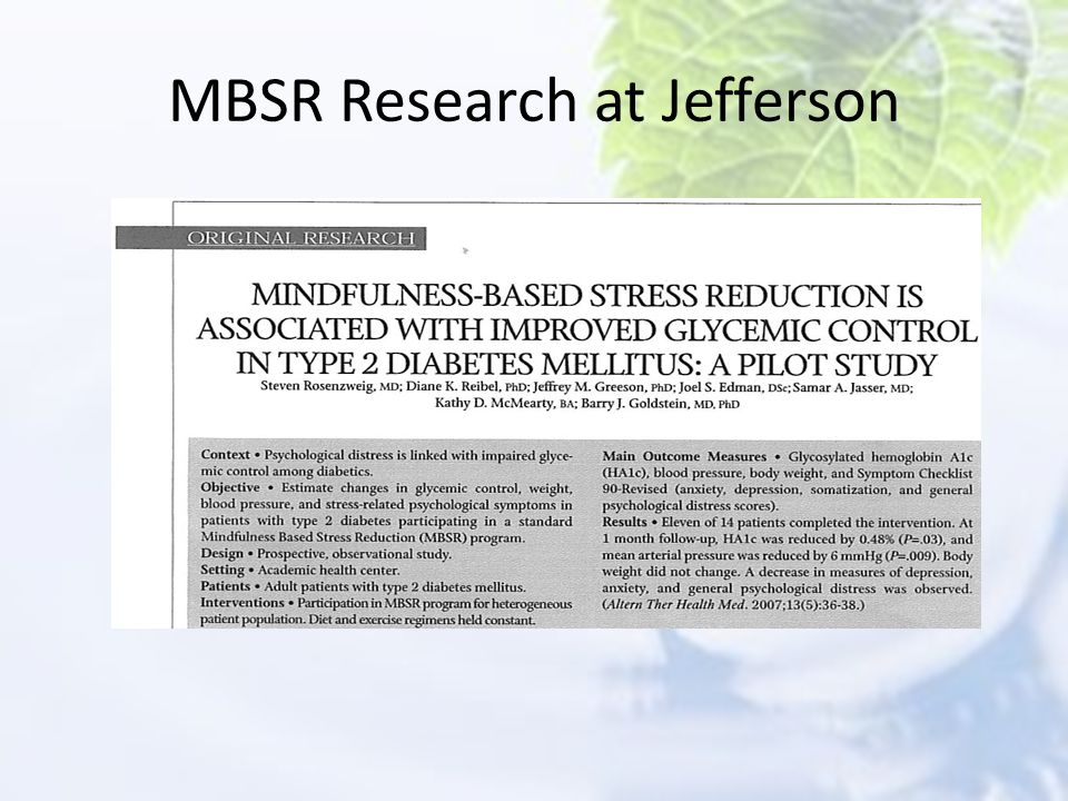 MBSR Research at Jefferson