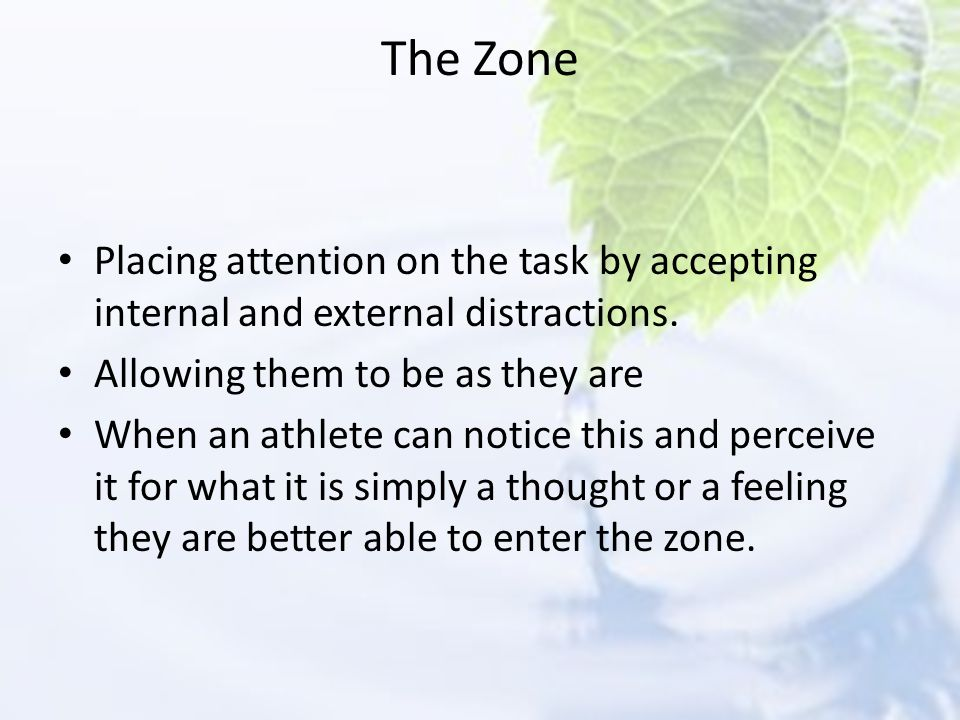 The Zone Placing attention on the task by accepting internal and external distractions. Allowing them to be as they are.