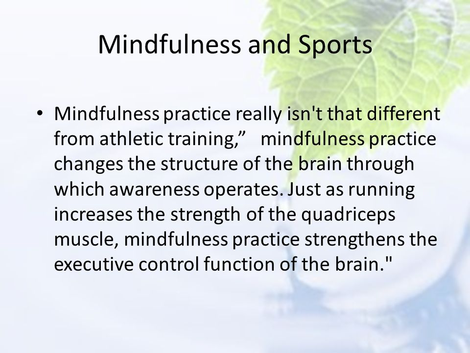 Mindfulness and Sports