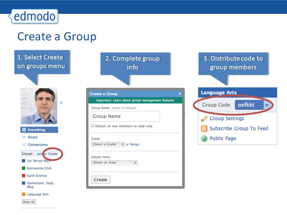 3. Distribute code to group members