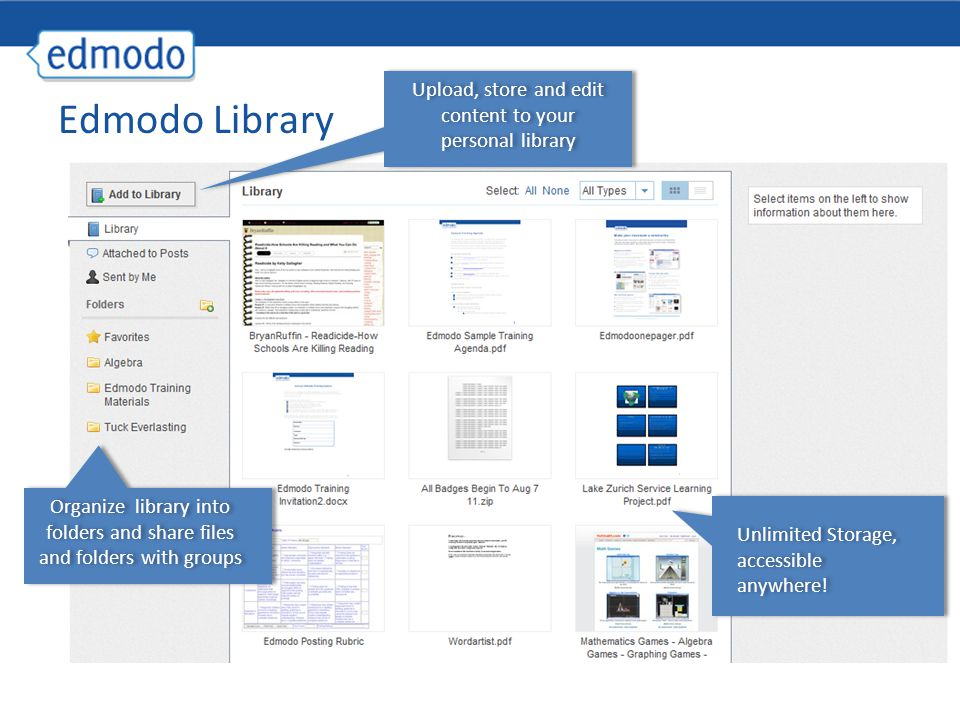 Edmodo Library Upload, store and edit content to your personal library