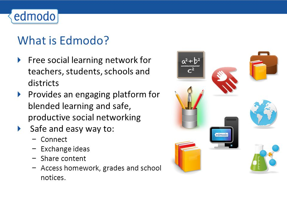 What is Edmodo Free social learning network for teachers, students, schools and districts.