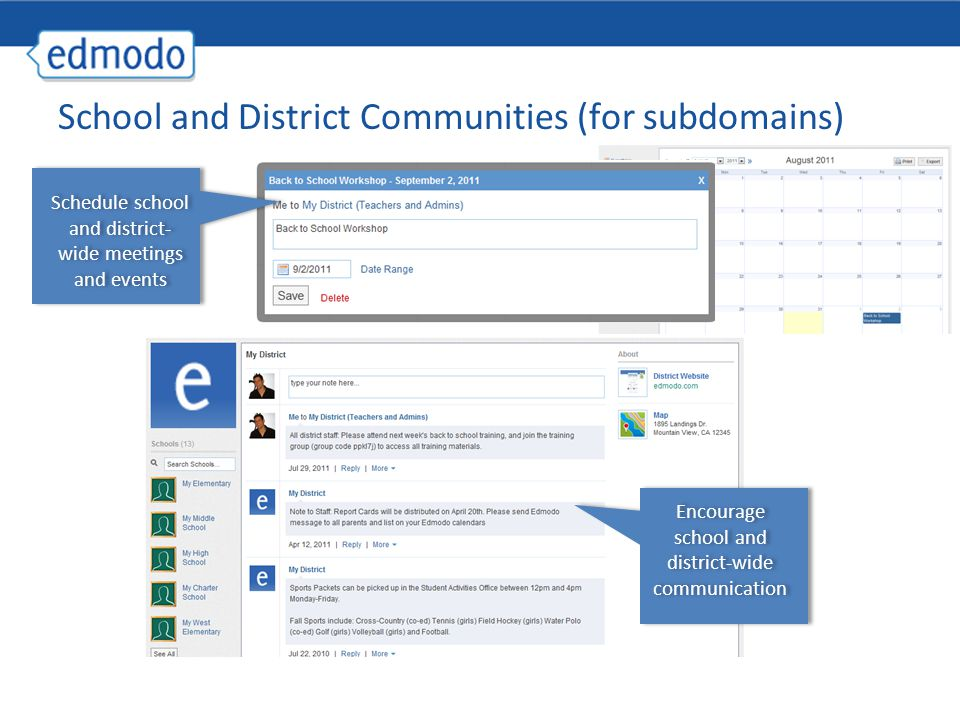 School and District Communities (for subdomains)