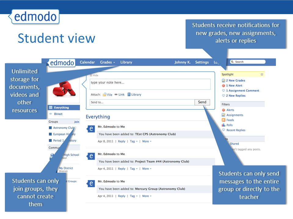 Students receive notifications for new grades, new assignments, alerts or replies