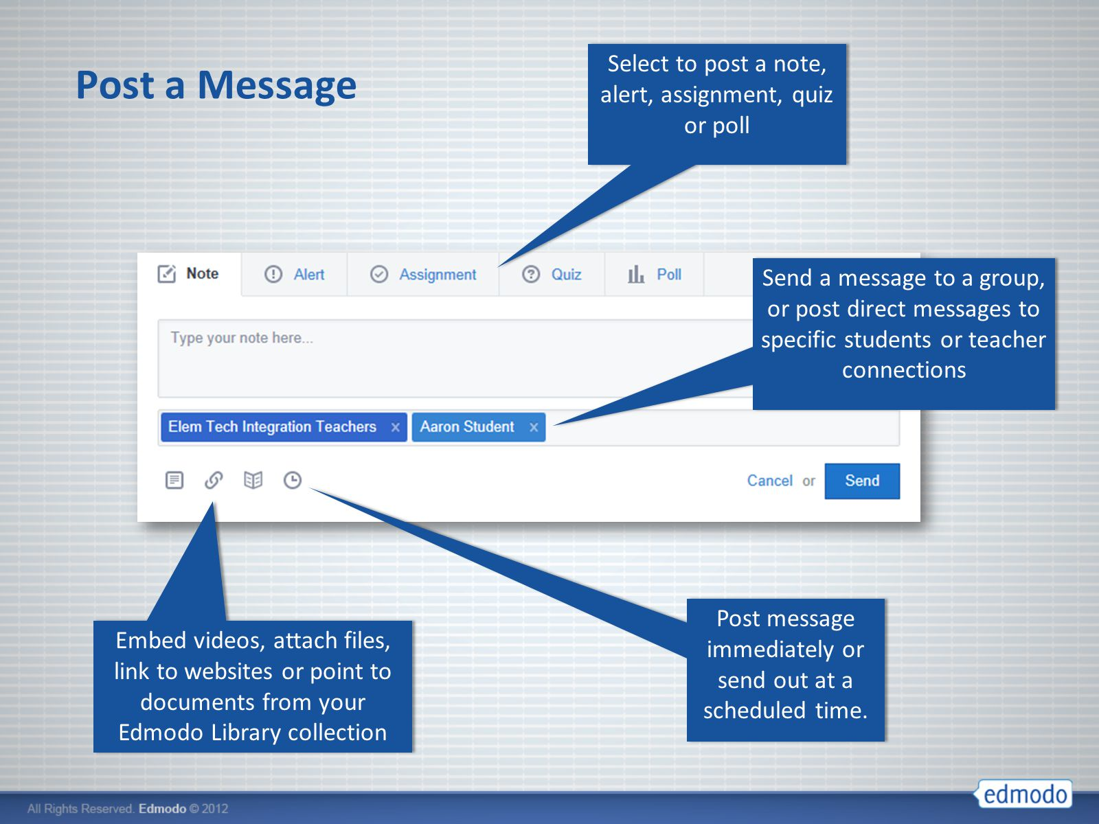 how to send direct message on edmodo