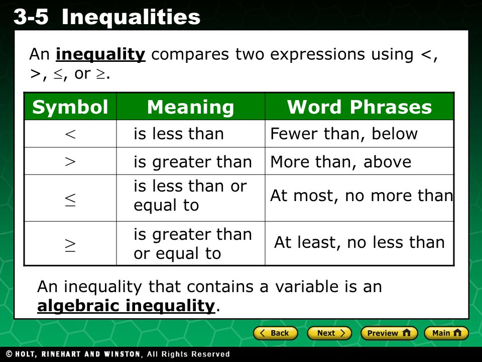 Use variables and appropriate operations to write inequality ...