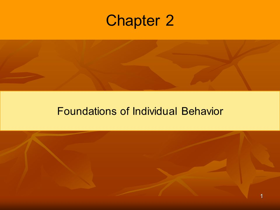 foundations of individual behavior Study flashcards on chapter 2: foundations of individual behavior at cramcom quickly memorize the terms, phrases and much more cramcom makes it easy to get the.