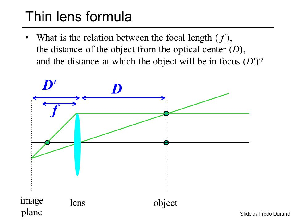 relationship between lens thickness and focal length camera