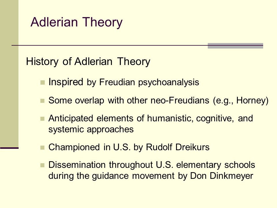the adlerian theory Published: mon, 5 dec 2016 alfred adler, md (1870-1937), a physician and originator of the adlerian theory, thought that healthy families and communities rest on a foundation of mutual respect.